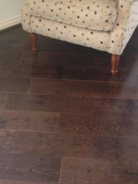 Solid walnut flooring laid on the diagonal